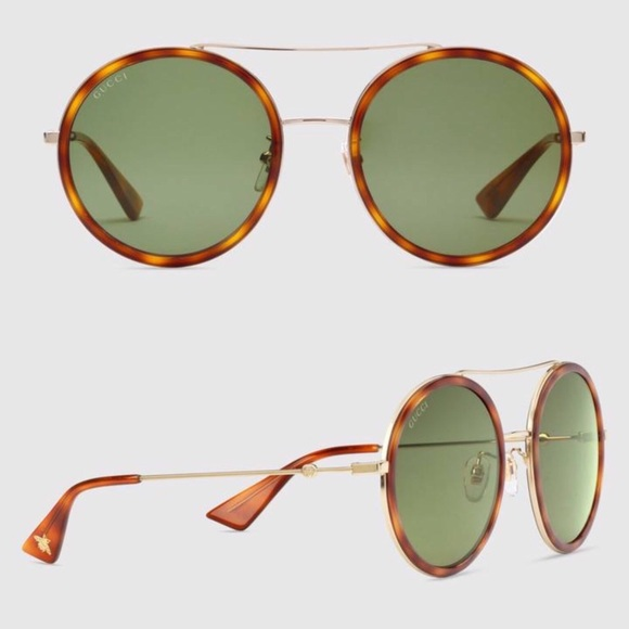 625068f9c4 Gucci Accessories - Gucci Round Metal Havana Sunglasses GG0061S 002